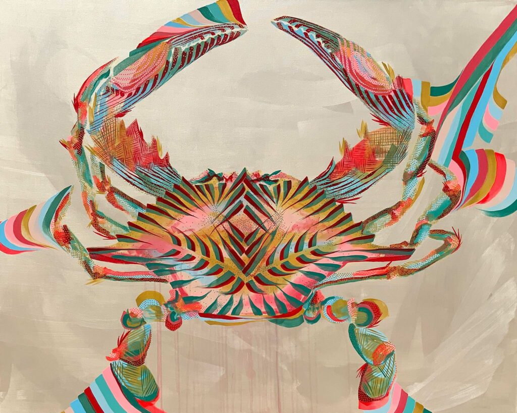 acrylic, crab, pink, teal, red, pearl ground, bold lines, layered lines, graphic style