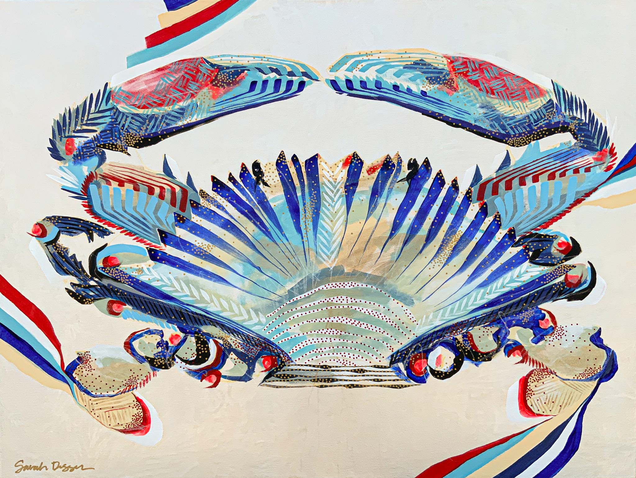 acrylic, crab, red, white blue, pearl ground, bold lines, layered lines, graphic style