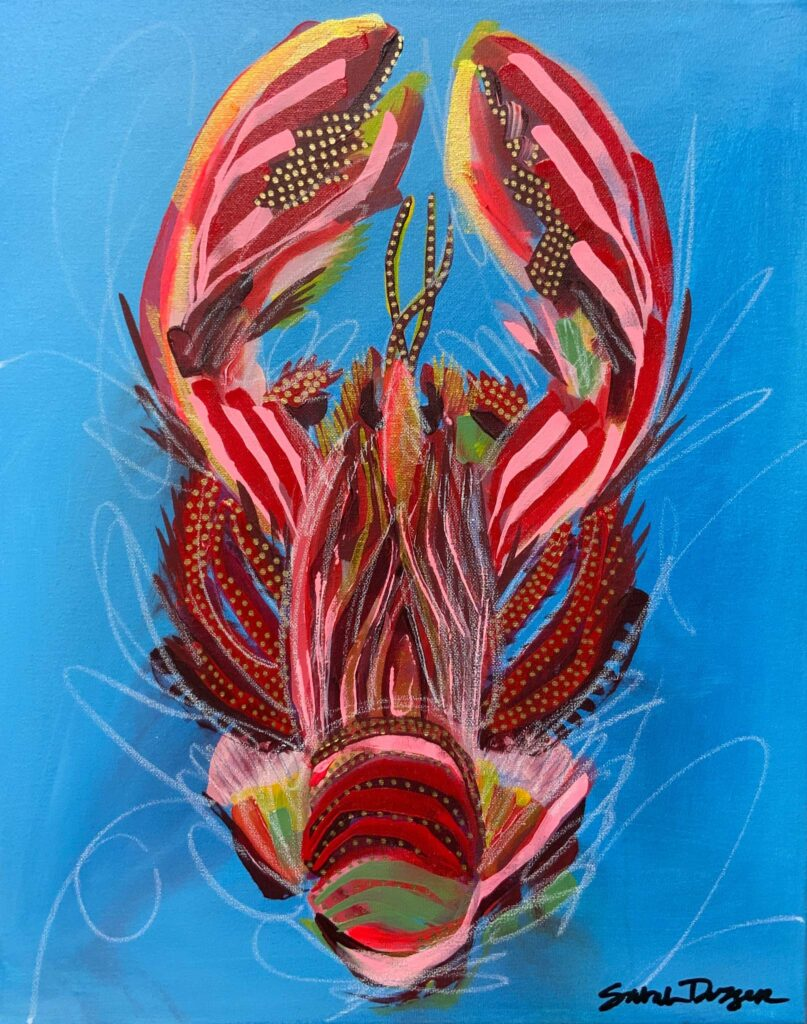 acrylic, lobster, red, blue ground, bold lines, layered lines, graphic style
