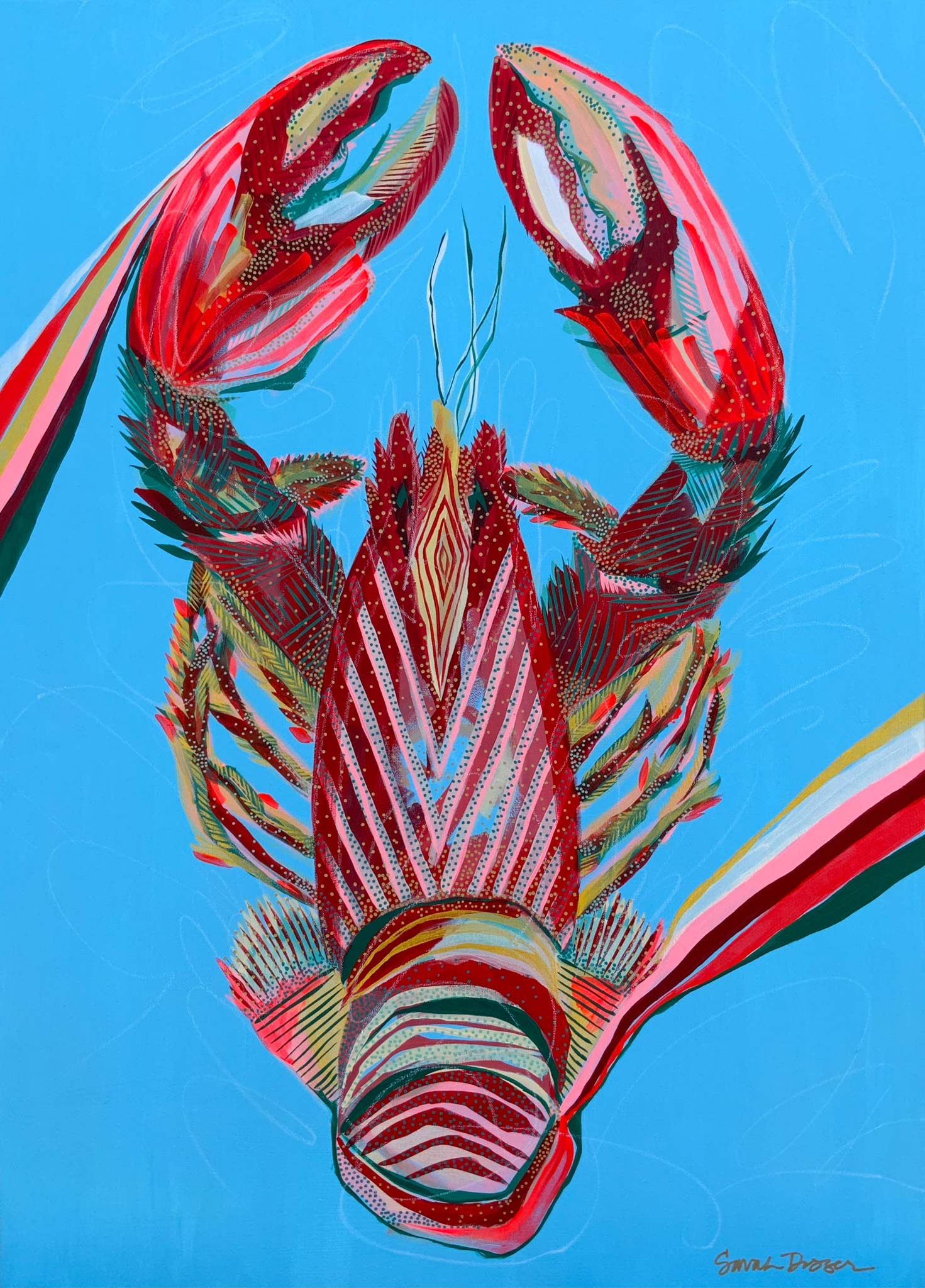 acrylic, lobster, red, rainbow, blue ground, bold lines, layered lines, graphic style