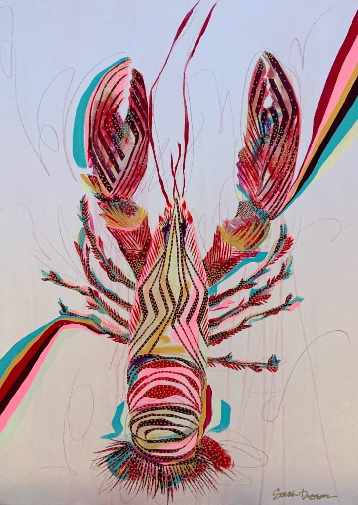 acrylic, lobster, red, pink, pearl ground, bold lines, layered lines, graphic style