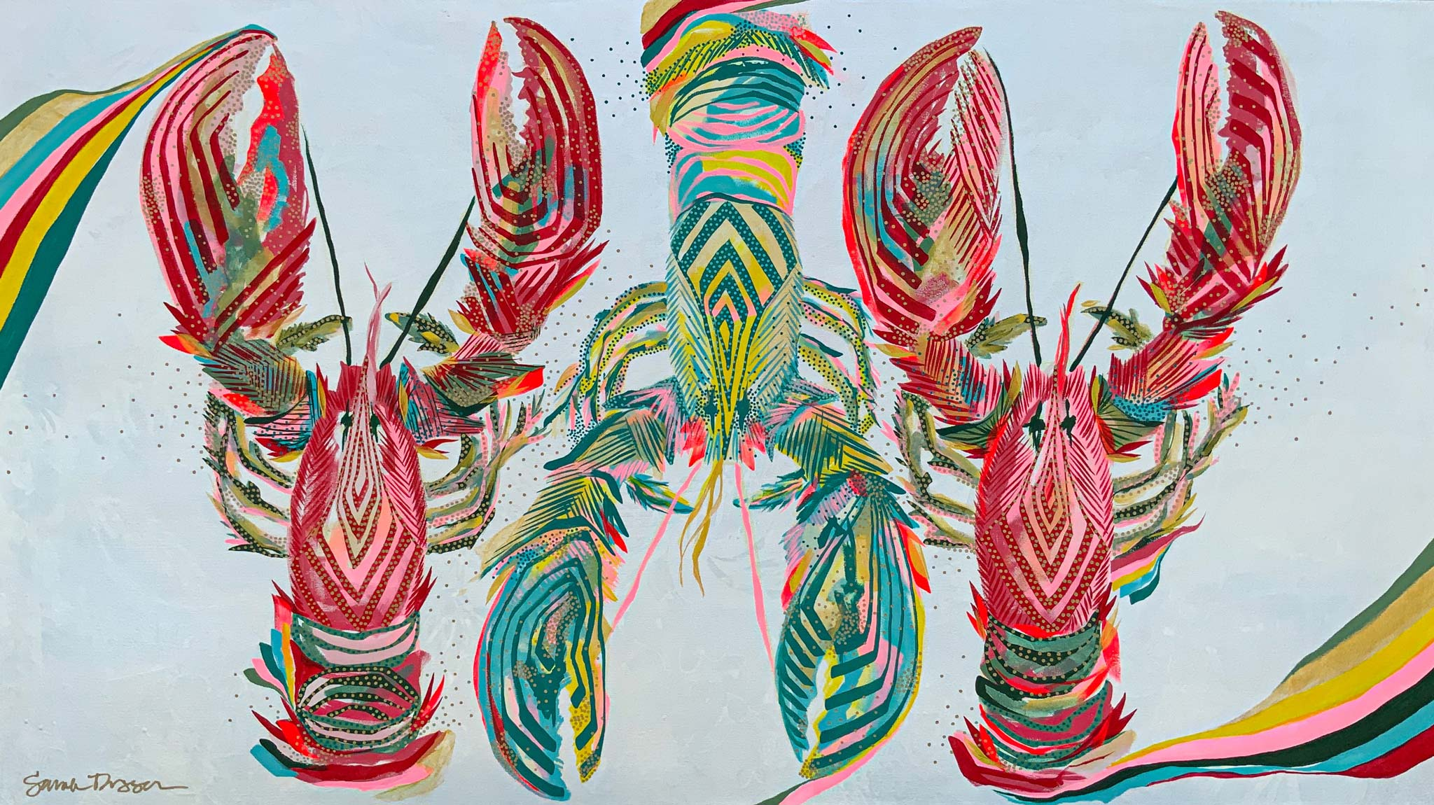 acrylic, lobster, pink, teal, red, pearl ground, bold lines, layered lines, graphic style