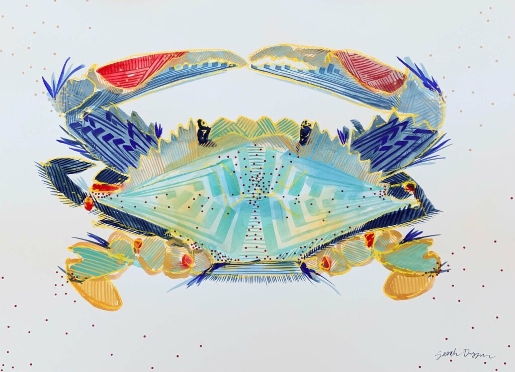 gouache, singular subject crab in aquas, reds, blues, gold, white ground, bold lines, layered print and pattern, graphic style