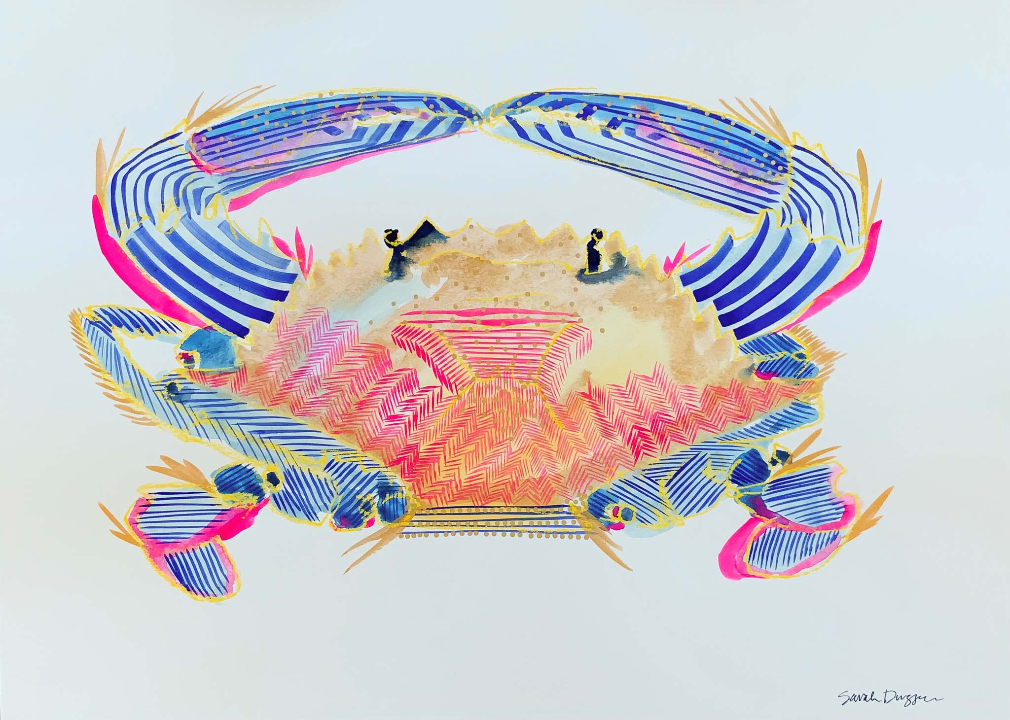 gouache, singular subject crab in pinks, blues, gold, white ground, bold lines, layered lines create form, graphic style