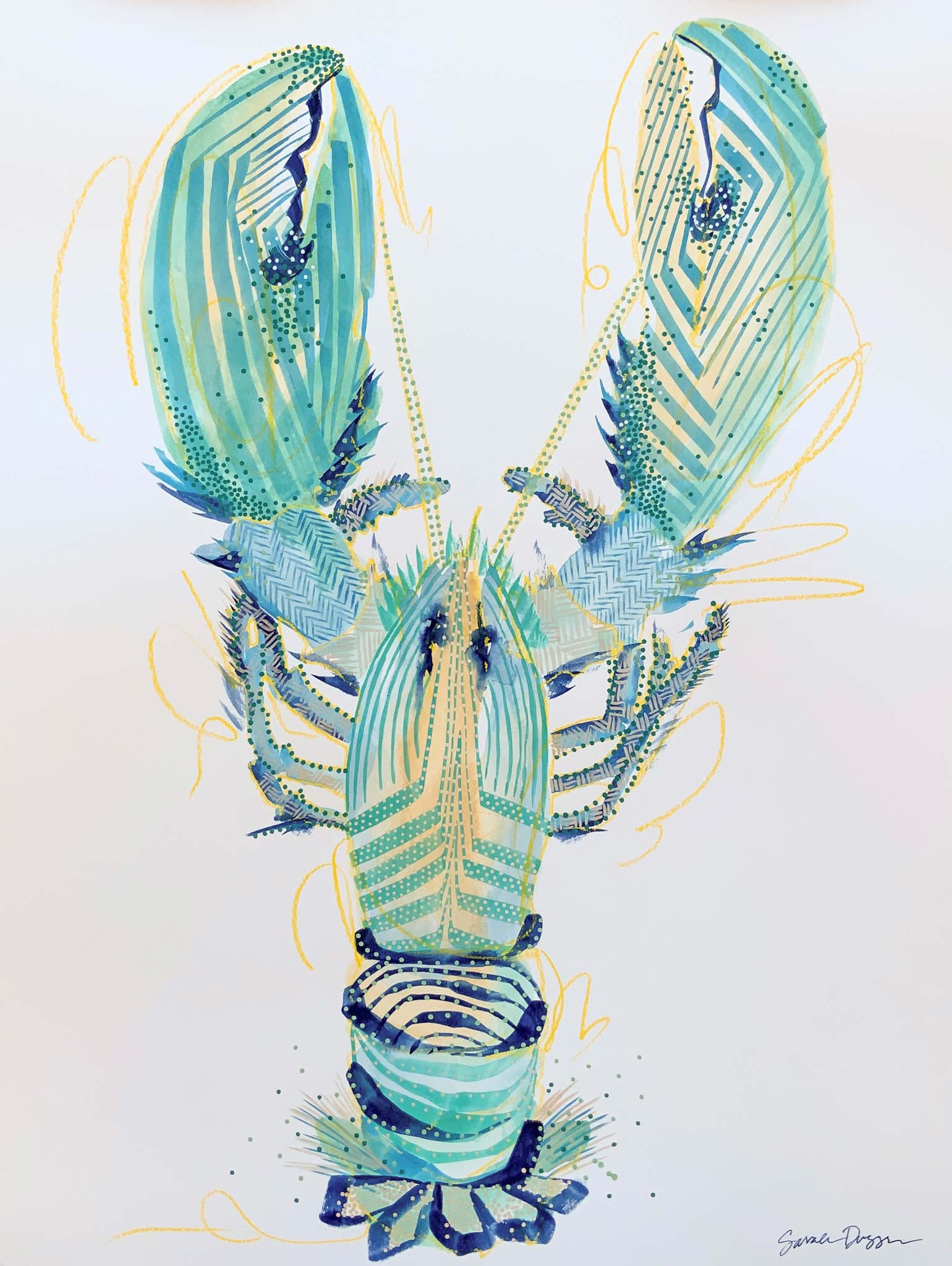gouache, singular subject lobster in aqua, blues and yellow, white ground, bold lines, layered lines create form, graphic style