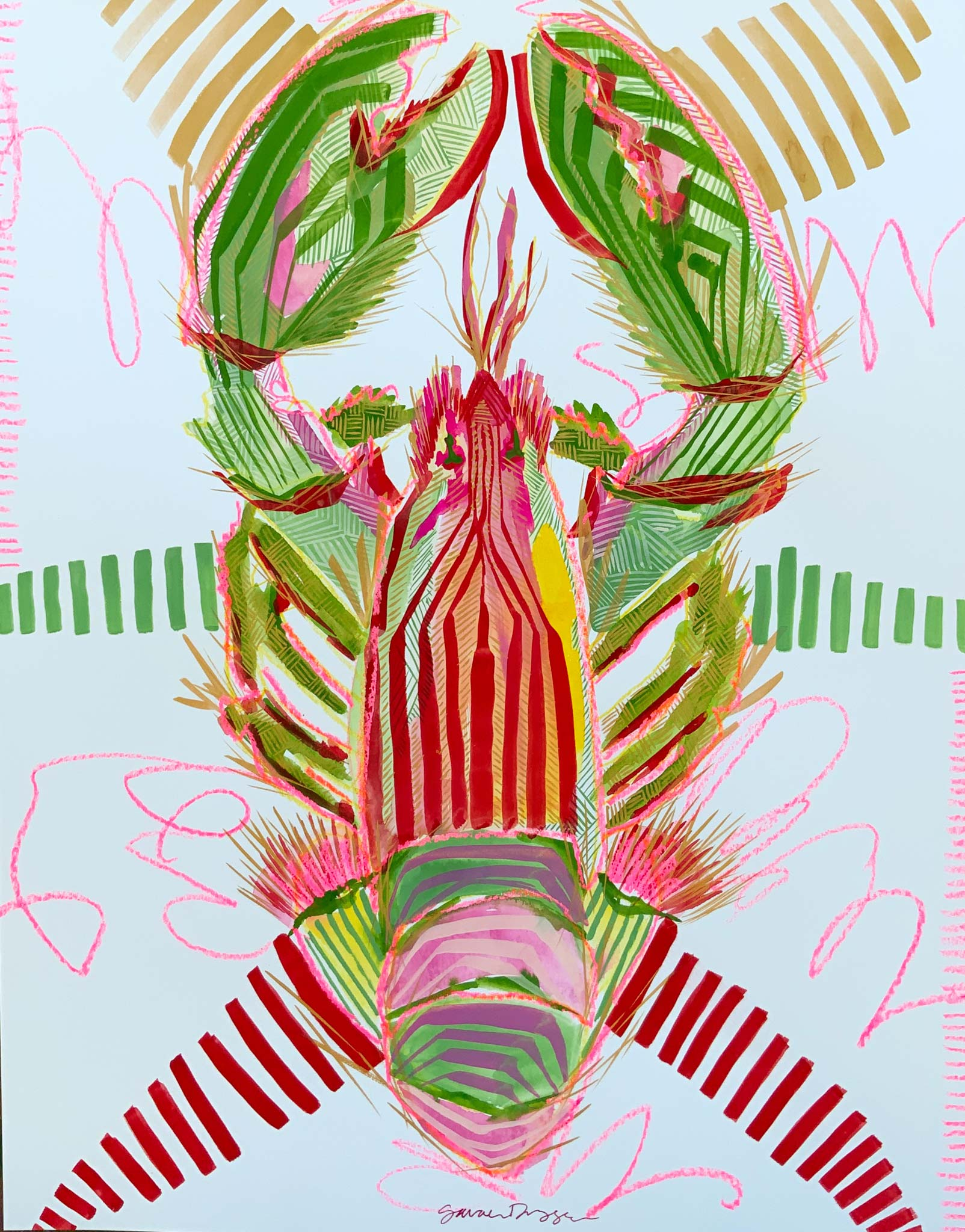 gouache, singular subject lobster in red, gold and green, white ground, bold lines, layered lines create form, graphic style
