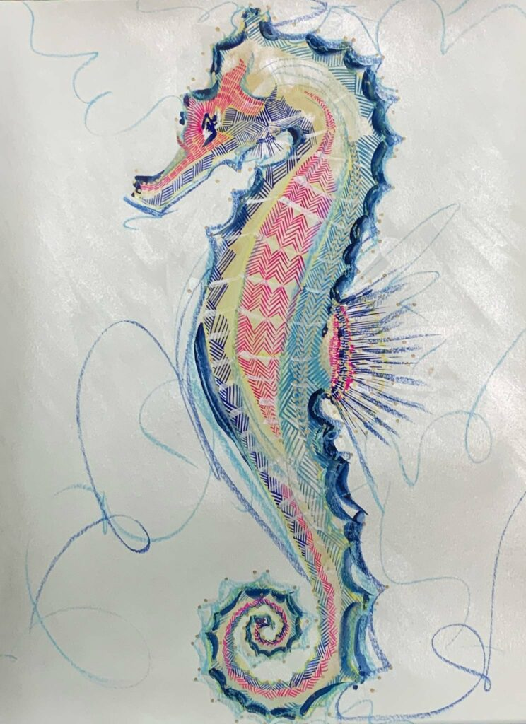 gouache, singular subject sea horse in blues, pinks, gold, white ground, bold lines, layered lines create form, graphic style